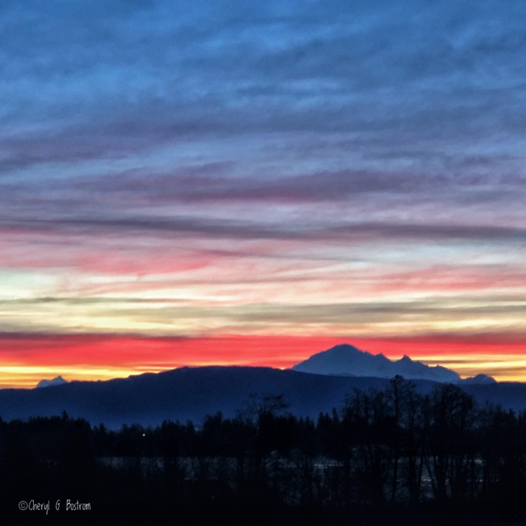 Bands of color in Mt. Baker sunrise
