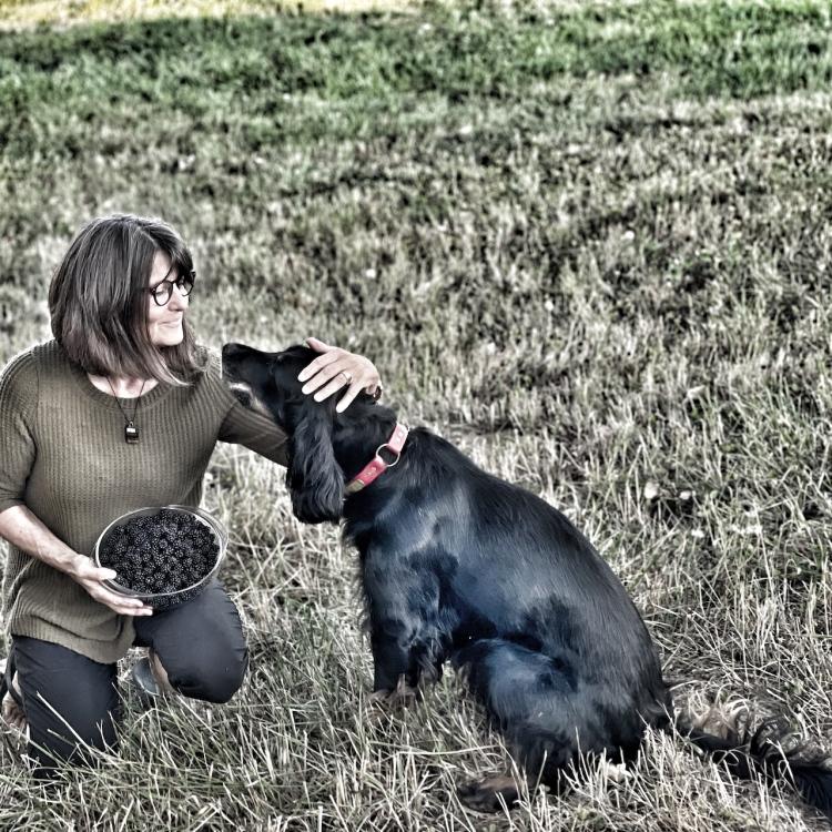 kneeling-woman-pets-gordon-setter-dog