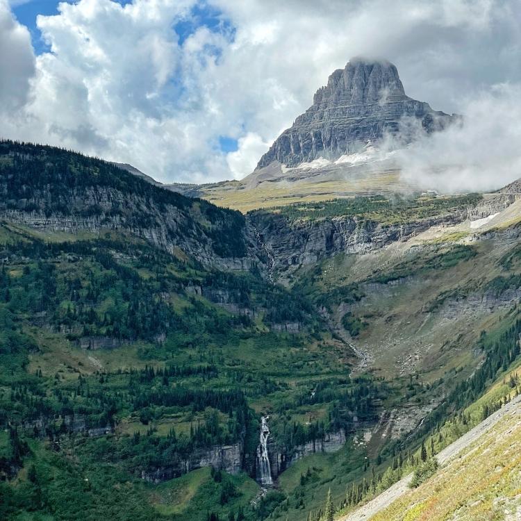 logan-pass-waterfall-glacier-national-park